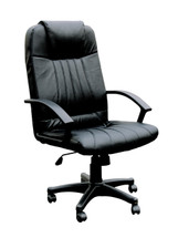 Executive Office Swivel Chair with Gas Lift, Black Leather