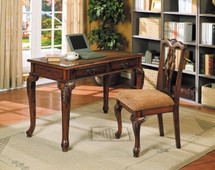 2-Piece Aristocrat Writing Desk and Chair, Dark Brown Cherry Finish