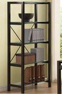 Wenge Finish Bookcase With 4 Glass Shelves