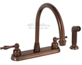 Wellington Kitchen Faucet Two Handle Oil Rubbed Bronze with Matching Spray Hi-arch swivel spout rotates 360°
