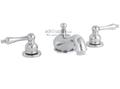 Wellington Lavatory Faucet Two Handle Widespread 3-hole Chrome Ceramic Disc Teapot Style Handles
