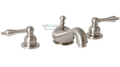 Wellington Lavatory Faucet Two Handle Widespread 3-hole Brushed Nickel Ceramic Disc Teapot Style Handles