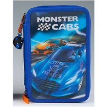 Monster Cars Filled Triple Pencil Case - Racing Car www.the-village-square.com EAN:   4010070286507