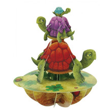 Santoro 3D Pop-Up Pirouette Greeting Card - Balancing Tortoises www.the-village-square.com EAN:  5018997240069 Pop-Ups Birthday Card
