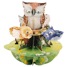 Santoro 3D Pop-Up Pirouette Greeting Card - Owls EAN:  5018997240588 www.the-village-square.com Pop-Up greeting card