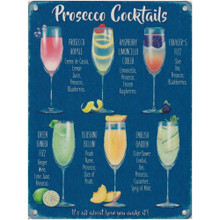 Prosecco Cocktails Large Metal Wall Sign - The Original Metal Sign Co. EAN:  5060508837626 www.the-village-sqaure.com