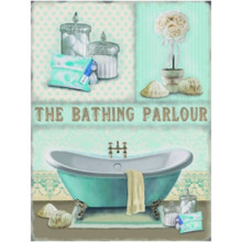 Bathing Parlour Larg Metal  Wall Sign - The Original Metal Sign Co. EAN: 5060259846175 www.the-village-sqaure.com