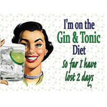 Gin & Tonic Diet Mini Metal Wall Sign - The Original Metal Sign Co. EAN: 5060162986623 www.the-village-square.com