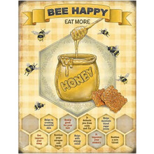 Bee Happy Mini Metal Wall Sign - The Original Metal Sign Co. EAN:5060259846007 www.the-village-square.com