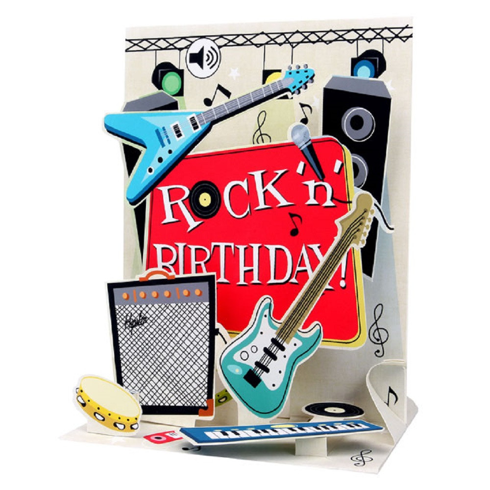 Pop Up Sight N Sound Greeting Card By Popshots Studios Rock N Roll