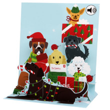 Pop-Up  Sight 'n Sound Christmas Card by Popshots Studios - Jingle Bell Dogs Barcode:  048641311819 www.the-village-square.com