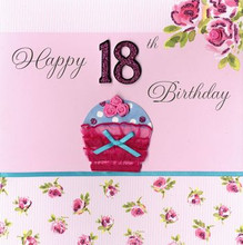 Happy 18th birthday cupcake greeting cards happy 18 birthday card the village square bookmarktalkfo Images