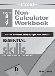 Excel Essential Skills Non-Calculator Workbook Years 8-9