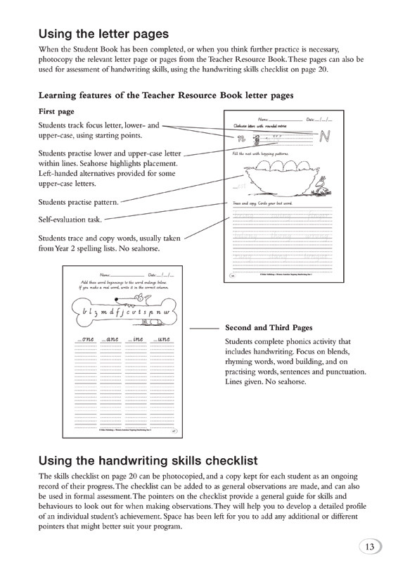 Targeting Handwriting WA Year 2 Teacher Resource Book