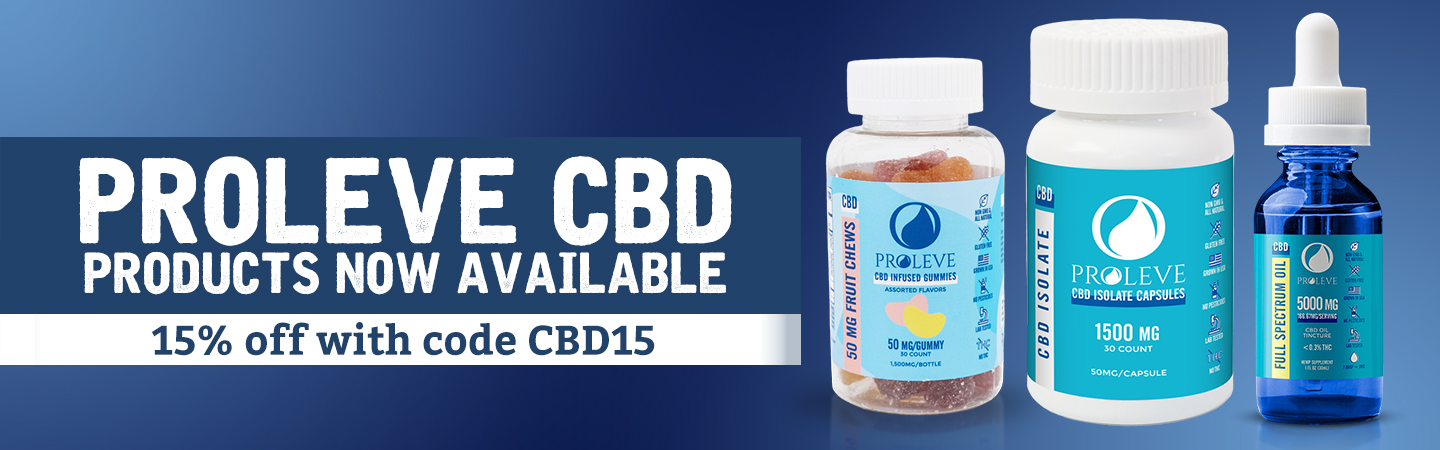 Proleve CBD Products 15% off with coupon code CBD15
