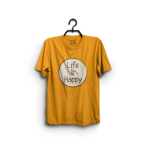 Life Is Happy T Shirt Yellow