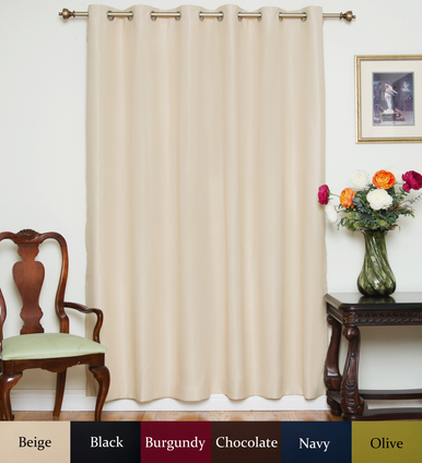Beige Nickel Grommet Top Blackout Curtain 80 Inch by 84 Inch Panel