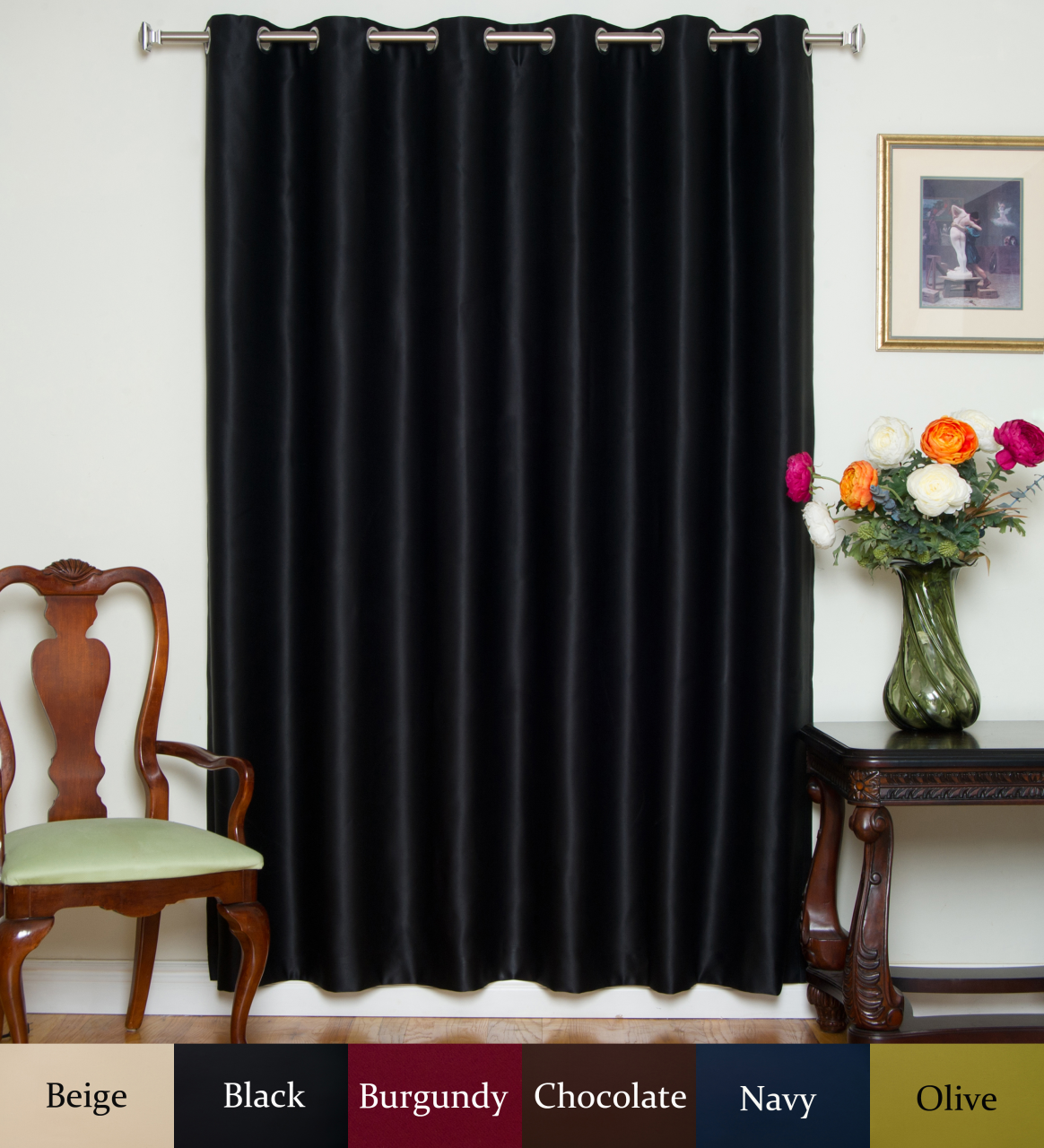 Nickel Grommet Top Blackout Curtain 80 Inch By 96 Inch Panel