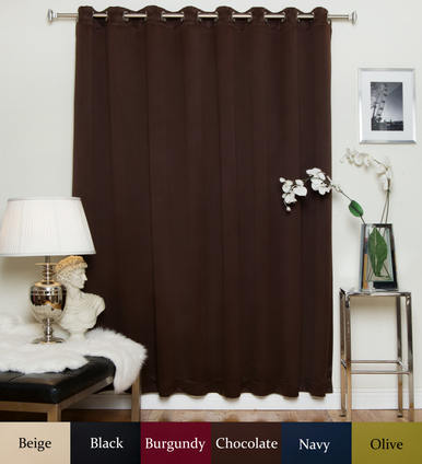 Chocolate Nickel Grommet Top Blackout Curtain 100 Inch by 84 Inch Panel
