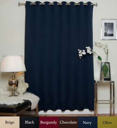 Navy Nickel Grommet Top Blackout Curtain 100 Inch by 96 Inch Panel