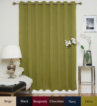 Olive Nickel Grommet Top Blackout Curtain 100 Inch by 108 Inch Panel