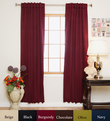 Burgundy Rod Pocket Blackout Curtain 64 Inch Length