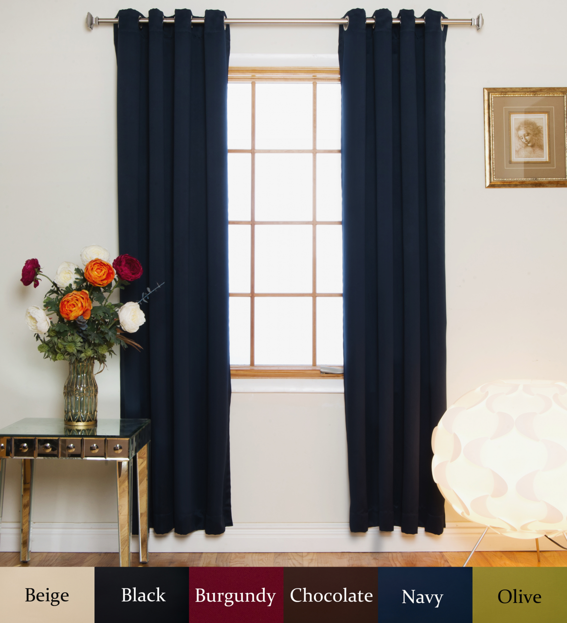 Navy Nickel Grommet Top Blackout Curtain 120 Inch Length