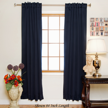 Navy Rod Pocket Blackout Curtain 120 Inch Length