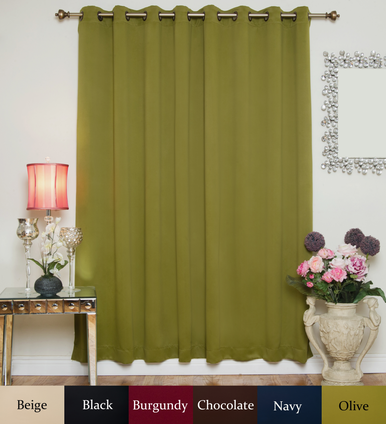 Olive Antique Brass Grommet Top Blackout Curtain 100 Inch by 108 Inch Panel
