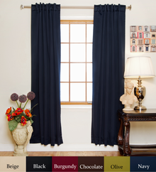 Navy Rod Pocket Blackout Curtain 96 Inch Length