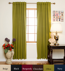 Olive Rod Pocket Blackout Curtain 108 Inch Length