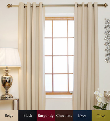 Beige Antique Brass Grommet Top Blackout Curtain 64 Inch Length