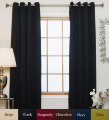 Black Antique Brass Grommet Top Blackout Curtain 64 Inch Length