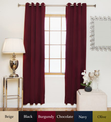 Burgundy Antique Brass Grommet Top Blackout Curtain 84 Inch Length