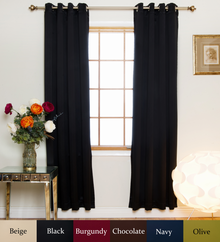Black Nickel Grommet Top Blackout Curtain 74 Inch Length