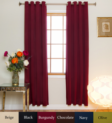 Burgundy Nickel Grommet Top Blackout Curtain 84 Inch Length
