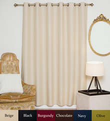 Beige Antique Brass Grommet Top Blackout Curtain 80 Inch by 84 Inch  Panel