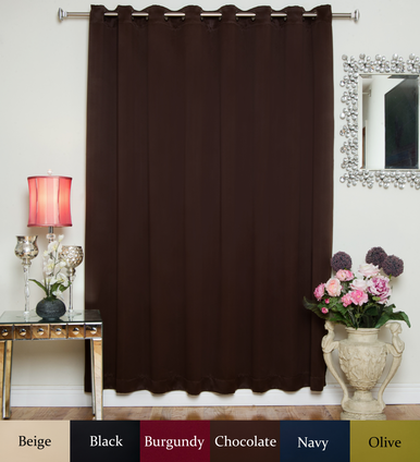 Chocolate Antique Brass Grommet Top Blackout Curtain 100 Inch by 84 Inch Panel