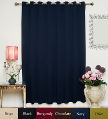 Navy Antique Brass Grommet Top Blackout Curtain 100 Inch by 96 Inch Panel