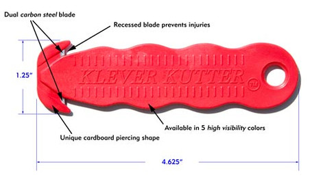 The Klever Kutter safety knife with Carbon Steel blade is designed to eliminate user injuries and product damages due to old fashioned box cutters.