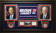 George Bush & Dick Cheney Signed Bookplate Display