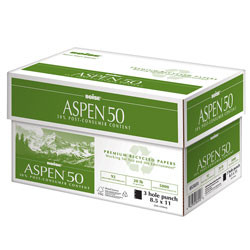 Boise Aspen Recycled 50 Multipurpose Copy Paper, 8 1/2'' x 11'', 20 lb, Carton/5,000 Sheets