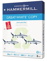 Hammermill Great White Recycled 3-Hole Punched Copy Paper, 8 1/2'' x 11'', 20 lb, Carton/5,000 Sheets