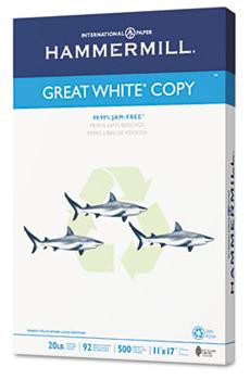 Hammermill Recycled Great White Copy Paper,  11'' x 17'', 20 lb
