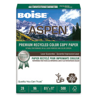 Boise Aspen Recycled Color Copy Paper 8 1/2'' x 11'', 28 lb Bond, ream
