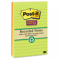 Post-it Super Sticky Recycled Notes, LINED, 4 x 6, Natures Hue 's, 90 Sheets per Pad, 3 Pads per Pack (660-3SSNRP)