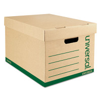Universal Recycled Record Storage Box, Letter/Legal Size,Carton/12 Boxes/ 10w X 12h X 15d, 100% PCR,