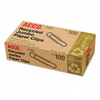 Acco Recycled Paper Clips, Jumbo Size