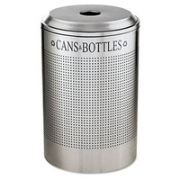 Rubbermaid Silhouette Can/Bottle Recycling Receptacle, Round, Steel, 26 Gal, Silver