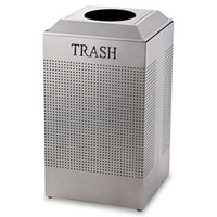 Rubbermaid Silhouette Waste Receptacle, Square, Steel, 29 Gal, Silver Metallic
